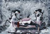 Фотошоп, коллаж, дорисовказимний сон девушка книга снеговики