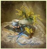 Весна, праздник, 8Марта, цветы, мимоза, кофе, корица