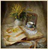 Цветы, мимоза, икона, книга, фарфор