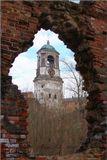 Выборг. Часовая башня. Вид через пробоину католического собора разрушенного ещё во время войны...