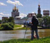 Новодевичий монастырь, художник, живопись, мольберт