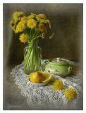 Букет, одуванчики, лимон, стекло, фарфор
