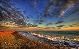 Сочи, чёрное море, небо, облака, закат, камни, галька, песок, пляж, природа