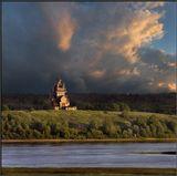 Владимирская церковь (1757 г.) на горе Жеребцовой у реки Онега. Архангельская губерния