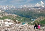 Французские Альпы, 3456 м., вид с горы Grande Motte, где летом можно кататься на лыжах. На ЗП слева, если не ошибаюсь, Монблан