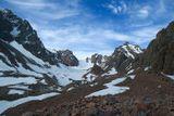 Ежегодная альпиниада на пик Нурсултан (Комсомола), участвует около 1000 участников массового восхождения! на фото видно как вереница восходителей тянется далеко вперед