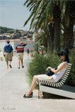 Пленер Хорватия, после, полудня, девушка, шляпа, мужчина