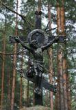 лес, распятие, религия. кладбище, Христос, сосны