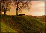 Пушка осень закат холм Бауска Латвия