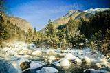 снег зима горы река