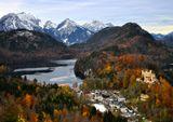 Бавария, замок Нойшванштайн, Фюссен, горы, замок Хоэншвангау, осень