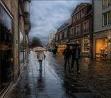 Мюнстер.Северный Рейн-Вестфалия.10.10.2010.  город,дождь,под зонтами