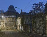 Вечер, синагога, улица, старый дом, руины