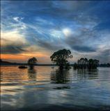 закат, водохранилище, вода