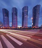 """Москва, жилые дома """"трубы"""" на Ходынском бульваре, вечер, 2 горизонтальных кадра"""