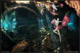 Подводное фото. Вход в пещеру Chak Mool. Юкатан. Мексика. Январь 2011....Лучи - настоящие. Отфильтрованы листвой и сводом сенота. Искажения - из-за использования объектива Фишай 15мм.