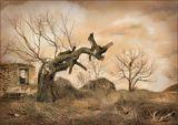 Разрушен дом,Давно ушел хозяин,Согнулось дерево,Встречая старость.Но нет в душе ни грусти, ни печали.Лишь шаг до вечности пройти осталось...
