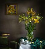 натюрморт, лилии