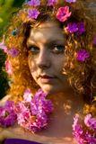 лето, сад, девушка, закатное солнце
