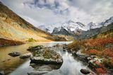 Осенний полдень на Поперечном Мультинском озере, Россия, Республика Алтай.