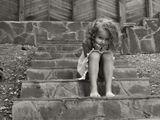 девочка, ребенок, лето, ступени
