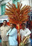 Непал, Катманду. Ни один из туристов, посетивший местный рынок, не упустит возможности сфотографировать  продавца дудочек с его колоритным товаром. К  популярности торговца не прочь примазаться и его приятели.