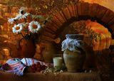 funtry, букет, ваза, глечики, горшки, дача, дерево, керамика, клубника, колоски, композиция, лето, ложка, мешковина, молоко, натюрморт, ромашки, рушник, стакан, фотонатюрморт, цветы