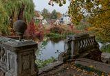 осень, пруд, усадьба