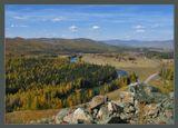 Из осеннего путешествия 2005г. Вид на реку Башкаус и дорогу в с.Усть-Улаган, Улаганский, соотвеиственно, район, Горный Алтай.