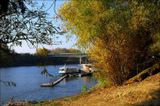 In summer, a small cruise ship port in the Tisza River