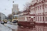 """Парад ретро-трамваев в честь 100 летия маршрута """"А"""", более известного, как Аннушка"""