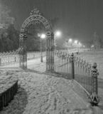ночь город снегопад