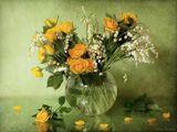 цветы, розы, ландыши, натюрморт, весна, май