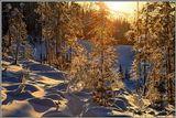 Мороз -20зима, иней, восход