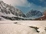 Алтай, горы, снег, река, тайга, вершина
