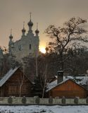 город, утро, восход, солнце, монастырь
