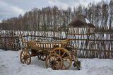 зима, телега, хутор