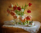 натюрморт, тюльпаны, цветы, весна