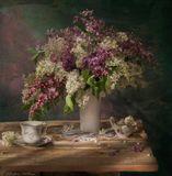 Сирень,весна,посуда