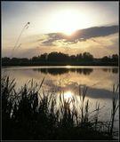 Чудесный летний закат на пруду