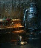 стекло, натюрморт, капли, фонарь, книга, роза