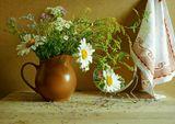 цветы, букет, натюрморт, лето, зеркало