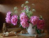 натюрморт, пионы, цветы, свет, ноты, свеча, ракушка