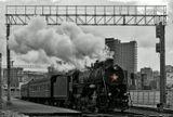 Отбытие поезда во главе с паровозом. Рижский вокзал. Пасмурно.