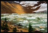 """*  *  *  О, эти льда метаморфозы - Июль и талая вода. Улыбки льда всегда сквозь слезы, Но как прекрасны слезы льда !  *  *  *  У подножия ледника """"Ангел"""" на склоне горы Эдит Кэвелл. Ледник интенсивно тает в последние десятилетия, и по прогнозам исчезнет со склона скалы.  Канада, Национальный Парк Джаспер."""