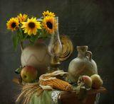 нартюрморт, кукуруза, подсолнухи