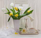 тюльпаны цветы чай
