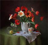 Букет тюльпаны цветущая ветка