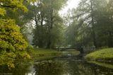 Царское село, мост через прудик в парке у Екатерининского дворца. Утренний туамн уже почти прошел, но все же, не совсем...