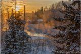 Зимний закат, вечер, река, мороз, солнце